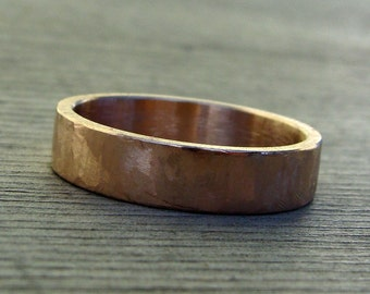 Rose Gold Wedding Ring / Band - Recycled 14k Rose Gold, Hand Textured, Simple, 5mm Wide, Mens or Womens - Made to Order