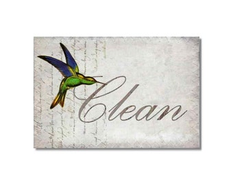 Clean Dirty Dishwasher Magnet Hummingbirds Collage Mini Flip Sign NOW Stainless Steel Option shabby french market cottage birds Wife Gift