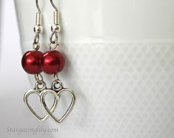 Valentine Earrings Open Heart Silver Heart n Red Pearl Pearls silver charm earrings Hypoallergenic surgical steel hooks YOU CHOOSE COLOR