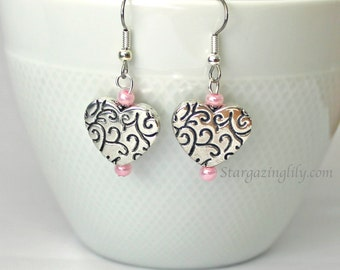 Valentine Earrings Silver Heart Pink Red accents scroll filigree design. Hypoallergenic surgical steel hooks. Valentine's Day Gift for Woman