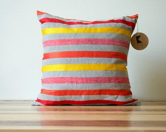 Starburst Stripes Linen and Silk Pillow in Warm Colors- 18 Inches LAST ONE!
