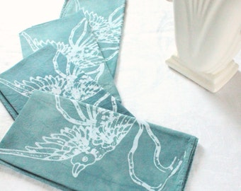 birds napkins in dusty slate blue.