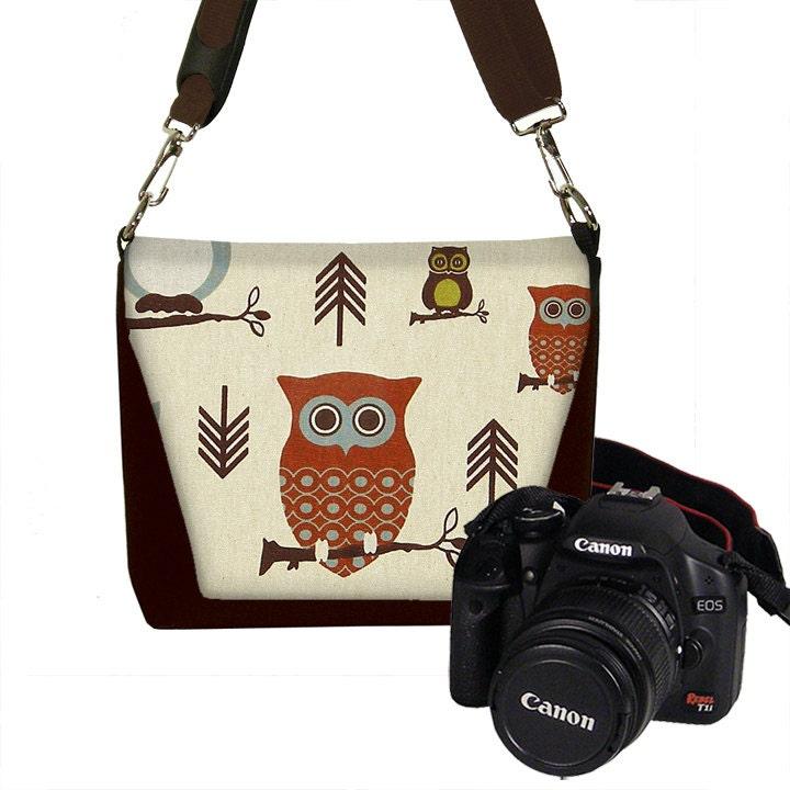 Elegant Womens Dslr Camera Bag Purse Asian Plum Blossom Messenger Bag