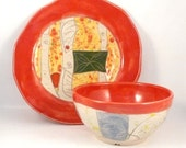 Artistic Ceramic Plate and bowl Set- Soup and Salad Dishes, Fall Home Decor, pottery and ceramics,  Halloween Thanksgiving Decor