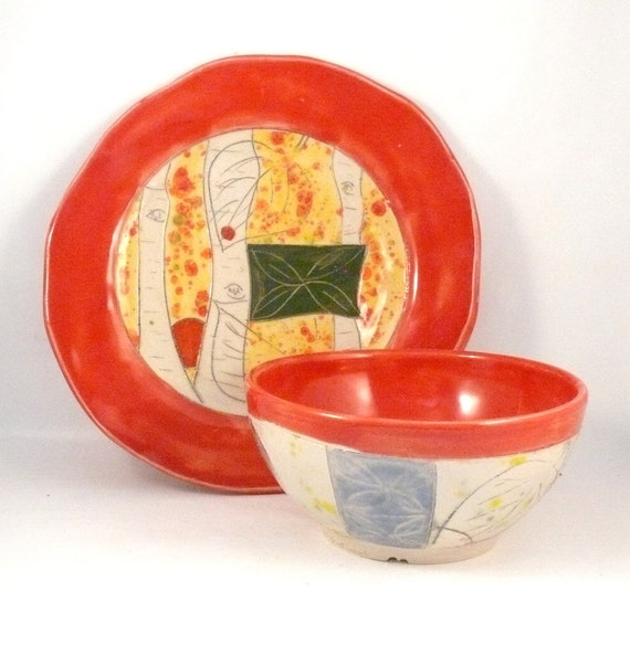 Artistic Ceramic Plate and bowl Set- Soup and Salad Dishes, Fall Home Decor, pottery and ceramics, Colorful Pottery Fiesta Color Dinnerware
