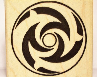 Crop Circle Rubber Stamp Dolphin Spiral #1107