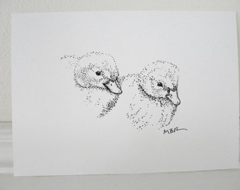 Baby Ducks Original Art Ink Drawing Duckling Art Black and White Bird Illustration 5 x 7