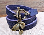 Leather Bracelet Charm Wrap, Brass Leaves & Aubergine Purple - SALE - see Shop for Coupon Codes...