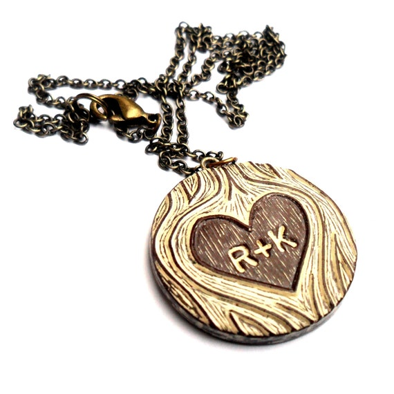 Personalized Heart Necklace, Anniversary Gift for Wife, Custom Initial Necklace, Carved Couple Initials, Woodgrain Jewelry, Girlfriend Gift
