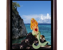 MERMAID with Rose Pin up Cigarette Case Business card case or Wallet