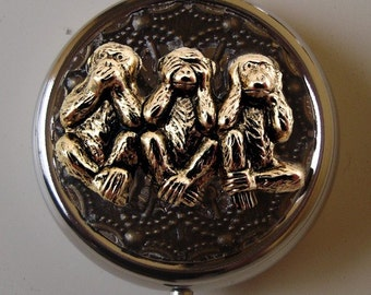 Monkey See no evil, Hear no evil, Speak no evil Pill Case Or Trinket Box Victorian Steampunk