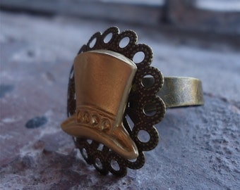 Simple Victorian Steampunk top Hat Ring - Mad Hatter Hat - Brass Adjustable