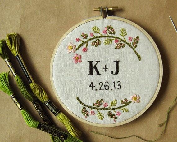 Items similar to custom wedding embroidery hoop wall art