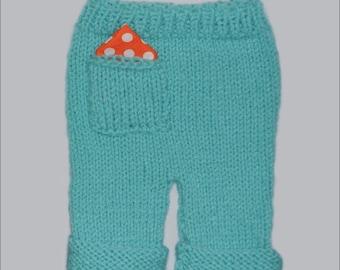 Newborn Long Pocket Pants BaBY PHoTO PRoP Knit 0 - 3 month Boy Girl HanKie PoCket PaNT Roll Up Pant UNiSeX Aqua CHooSE CoLOR Coming Home
