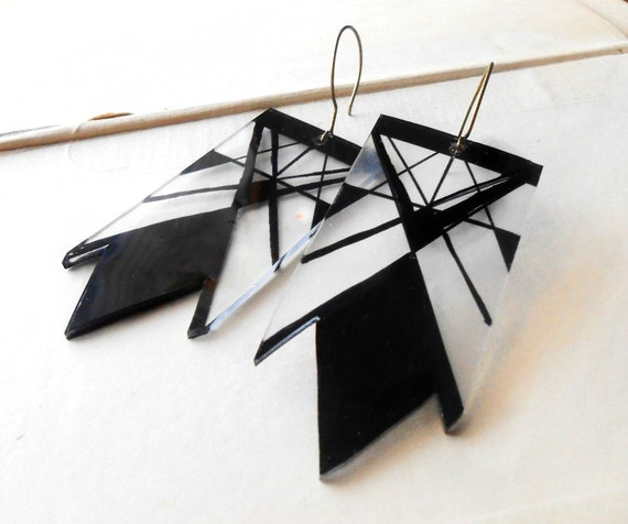 reduced - shrink plastic clear and black angle earrings geometric hand drawn earrings