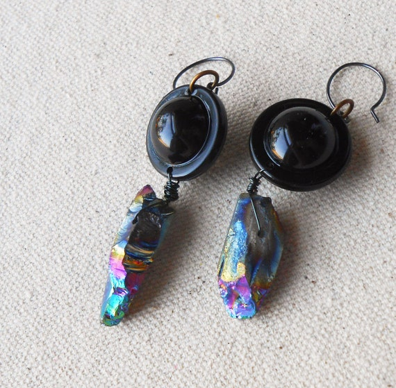 reduced - galaxy dangle earrings - oil slick rainbow titanium handmade spring summer festival earrings from outer space