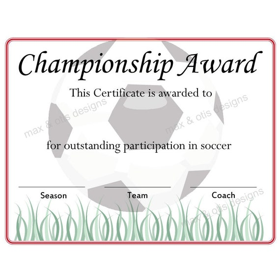 Items similar to Soccer Championship Award Certificate on Etsy