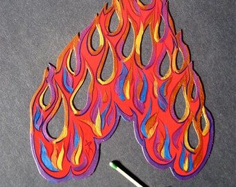 FLAMES, cutout MAGNET, Made to Order