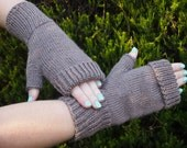 Fingerless Mitts - nut brown bamboo wool