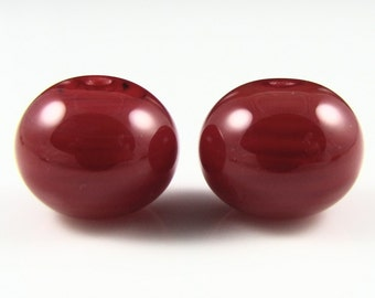 Cherry Red Lampwork Glass Bead Pairs