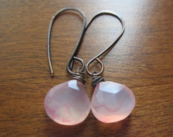 Petal Pink Chalcedony Earrings  with Odizied Copper