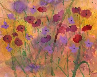 Original Watercolor Spring Flower Meadow