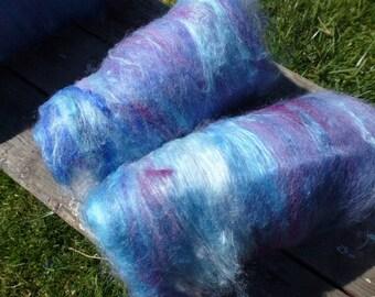 Shades of Lavender Silk Merino Half Batt 4 to 4. 5 Oz Spinning Felting