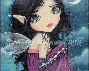 Gothic Big Eye Fairy Fantasy Fine Art Print  by Molly Harrison 8 x 10 - Big Eyes, Acrylic, Cute, Faery, Fairies