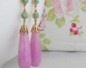 Lavender Jade Turquoise Swarvoski Long Art Deco Earrings