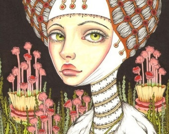 Lady Gertrude in the garden of Curiosities - fantasy art girl gothic medieval headpiece - 5x7 print of an original painting by Tanya Bond