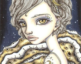 Moon Child - girl in a moon dress - starry sky - 5x7 print of a fantasy painting by Tanya Bond