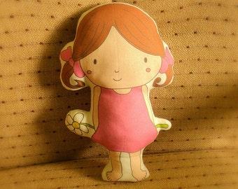 Pretty Dollie -- decorative art doll/pillow/plush/softie/decor --- brown hair -- (ship in 5 days)