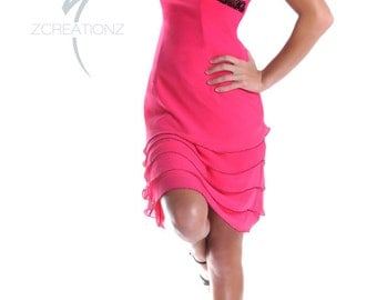 CLEARANCE PROM SALE - Strapless short chiffon dress with layered skirt overlays