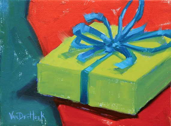 My Gift to You - A Study  - 6 x 8 Inch Original Oil Painting of a Present - Gift Painting - Wall Decor