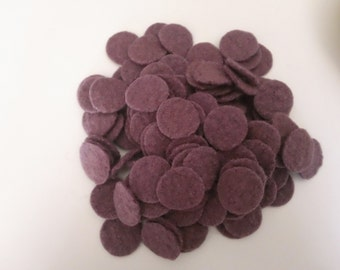 Napa Wine, 100-1 inch Wool Penny Rug Circles