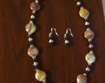 Southwest Turquoise Brown Jasper Crystal Necklace with Earrings