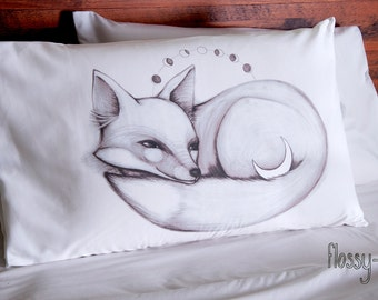 Moon Fox Pillowcase. White cotton pillow slip, with printed picture.