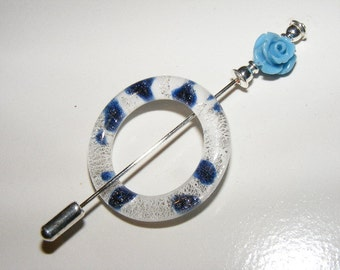 Lace Weight Glass Shawl Pin with Blue Rose