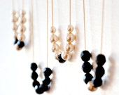Pearl Black and Gold Bead Gold Filled Strand Necklaces