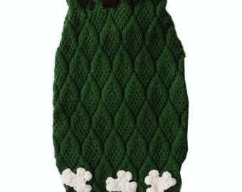 pet dog sweater - made to measure - st. patrick dog pet hand knitted   beaded jacket - other colors are possible