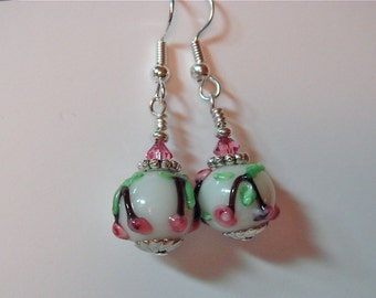 Floral Lampwork Glass Earrings White with Pink  and Swarovski Accents on silver