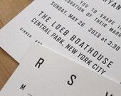 NYC Letterpress Wedding Invitation - Vintage Subway Sign, elegant, modern, urban.