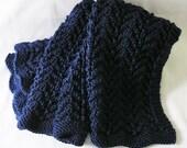 Navy Afghan, Lap Cover, Dark Blue Baby Blanket, Toddler Wrap, Handknitted Chevron Style