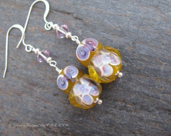 Light Amber and Lavender Lampwork Glass Owl and Crystal Earrings