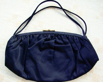 Black Satin 1950's 60's Vintage Handbag Clutch Purse with Gold Clasp