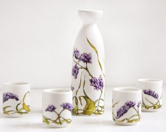 White Ceramic Sake Set with 4 cups - Sea Lavender, Botanical Collection