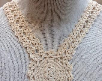 Crochet Applique Collar Set Of Two