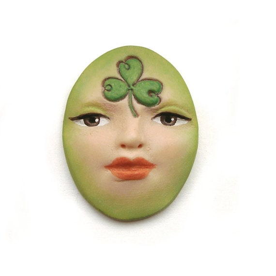 Shamrock St Patricks Day Clover Oval Art Doll Face Cab Green Paddy Patty Brown Eyes Goddess Cabochon Polymer Clay 2904
