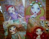 Fairy Folk Art Postcard Art Set (4), Childrens Art, Folk Art, Fairies, Fairy Tales, Pastels