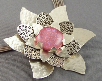 Pink Dichroic Glass and Sterling Silver  Flower Pendant